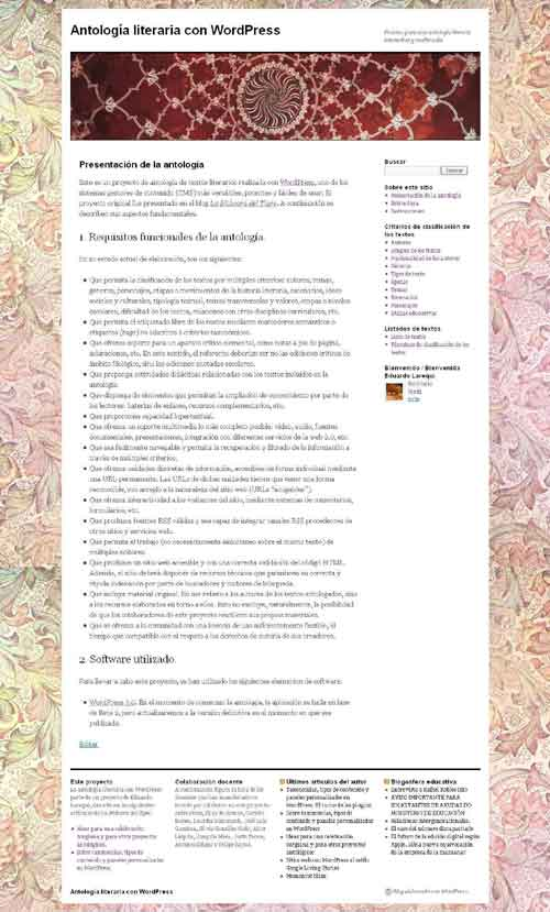 Figura 1 - Página principal de la antología
