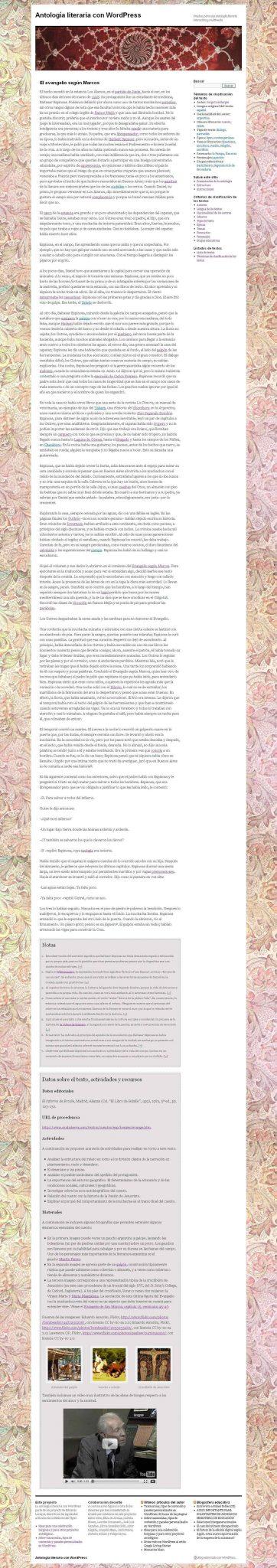 Figura 5 - Página individual de un texto de la antología