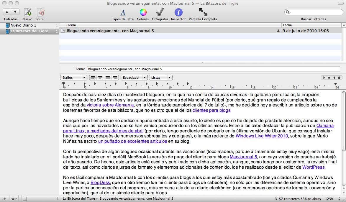 Figura 1 - Edición de entradas con MacJournal