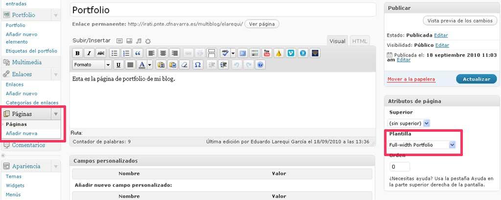 Figura 3 - Configuración de la página destinada al portfolio