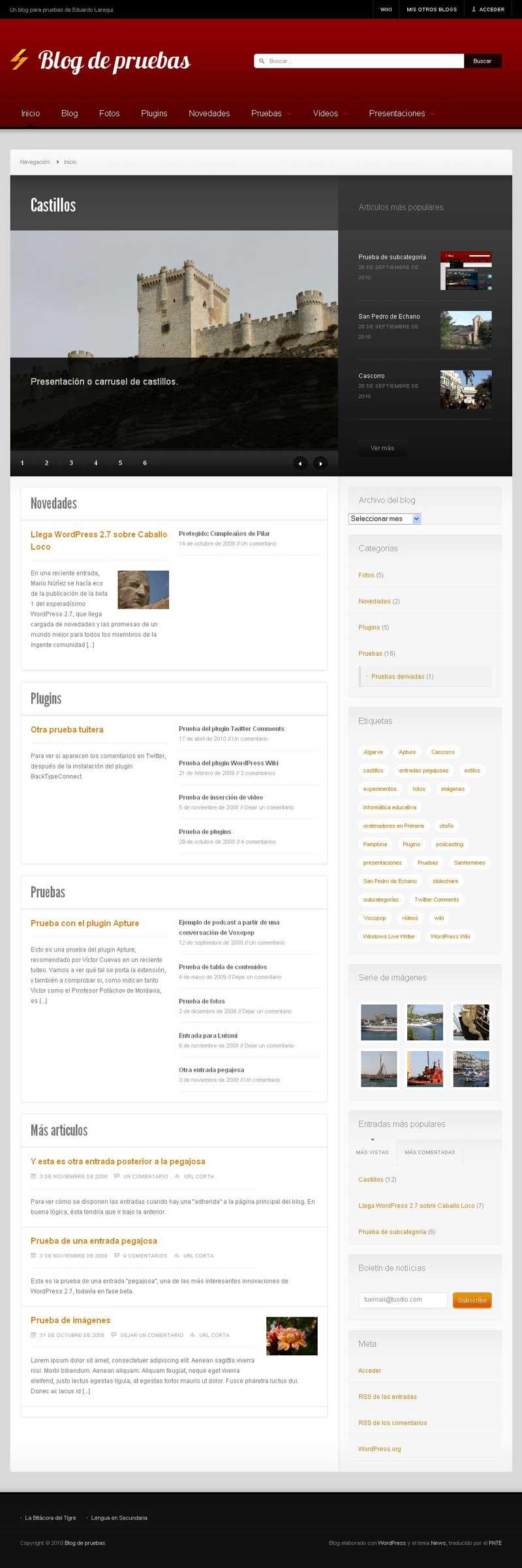Figura 1 - Tema News, página principal