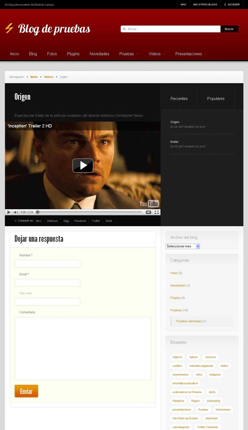 Figura 2 - Tema News, tipo de contenido personalizado (vídeo)