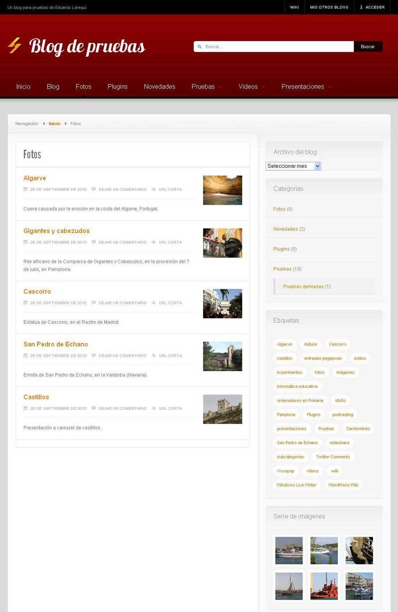 Figura 4 - Tema News, página de archivo de una categoría con miniaturas