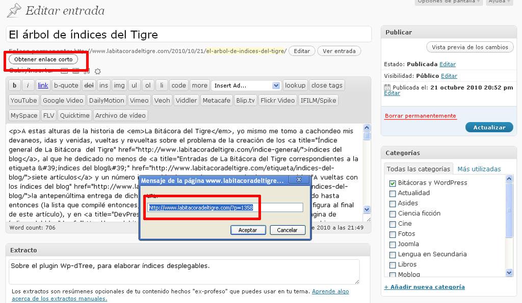 Figura 1 - El acortador de URLs del editor de WordPress