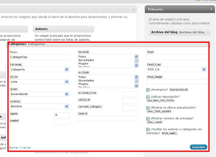 Figura 4 - Opciones del widget de categorías