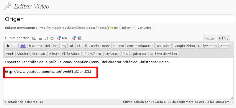 Figura 4 - Inserción de un vídeo correspondiente a un servicio (YouTube) compatible con oEmbed