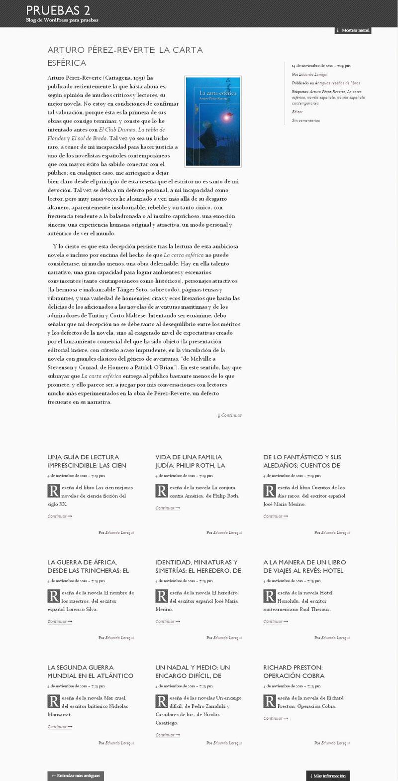 Figura 1 - Blog de pruebas con el tema The Erudite