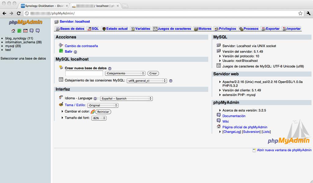 Figura 7 – Conexión por web y administración de bases de datos mediante phpMyAdmin