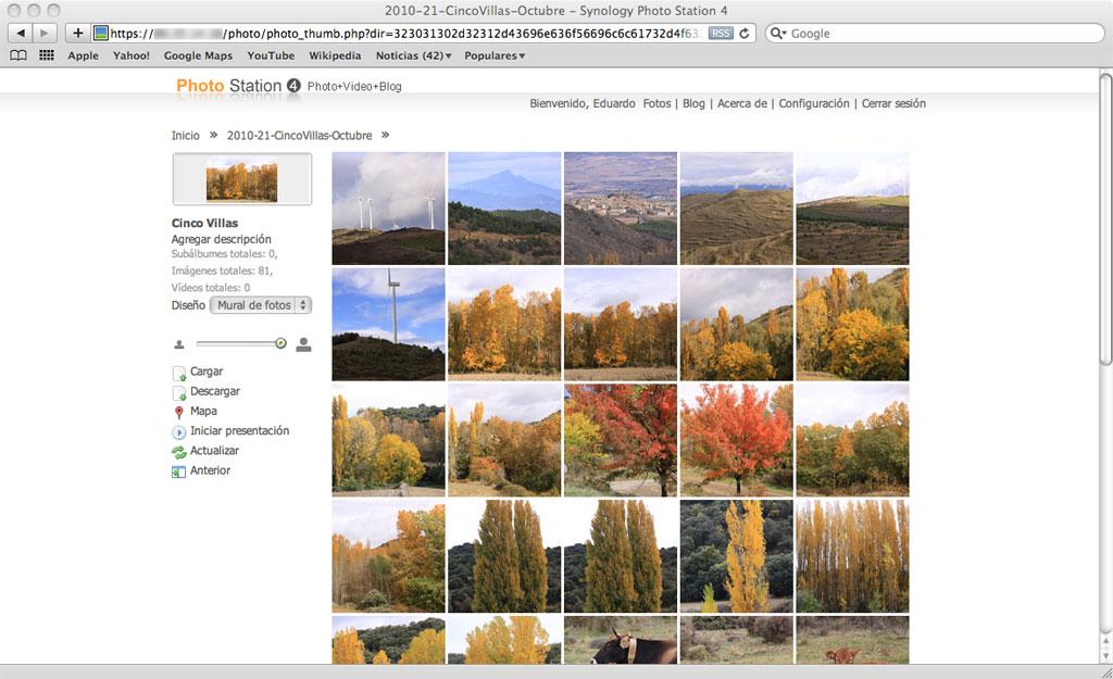 Figura 9 – Un álbum de fotografías en la correspondiente página del Photo Station