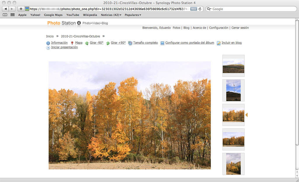 Figura 10 – Una fotografía individual en la página correspondiente del álbum de fotos