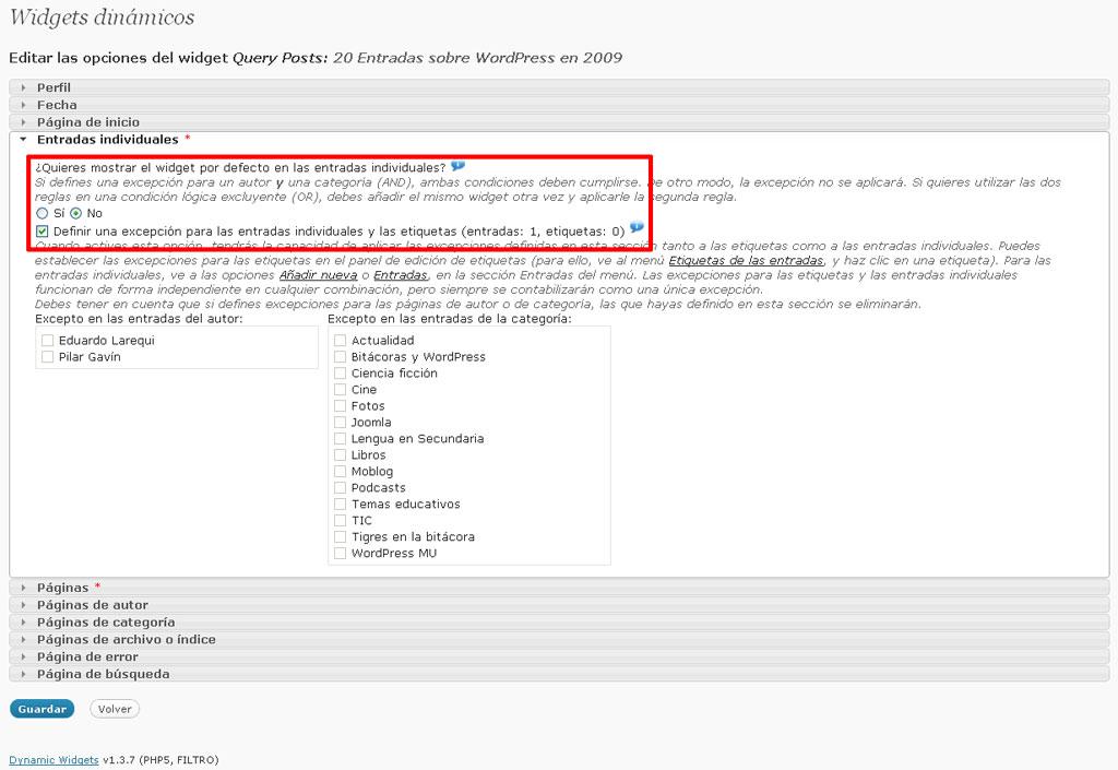 Figura 1 - Condición para la aparición en entradas individuales del widget creado con el plugin Query Posts