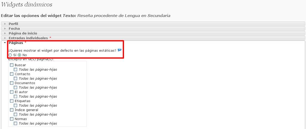 Figura 6 - Condición para impedir que el widget aparezca en páginas estáticas