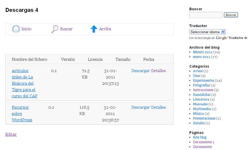 Figura 2 – Página de descargas generada con el plugin RSFiles!