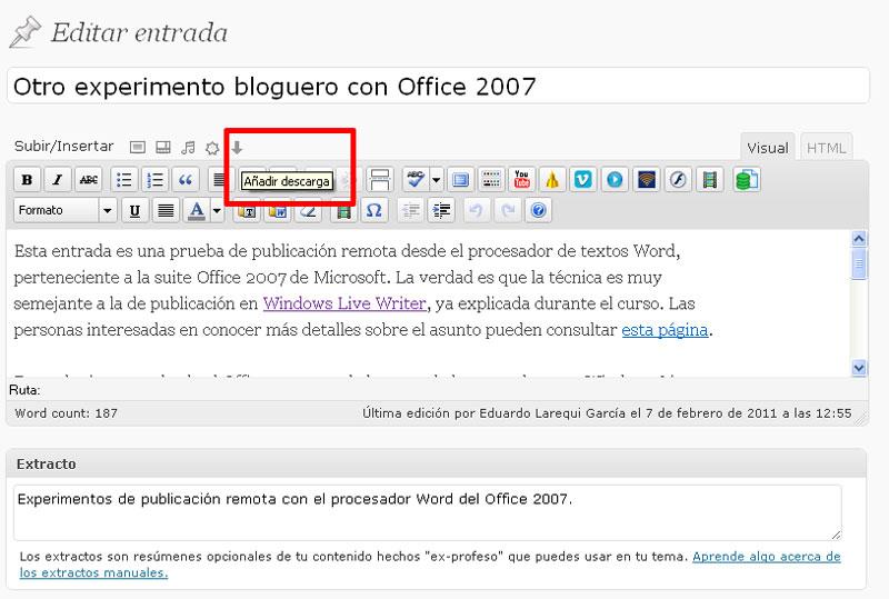 Figura 4 – Botón para insertar descargas en el editor de WordPress