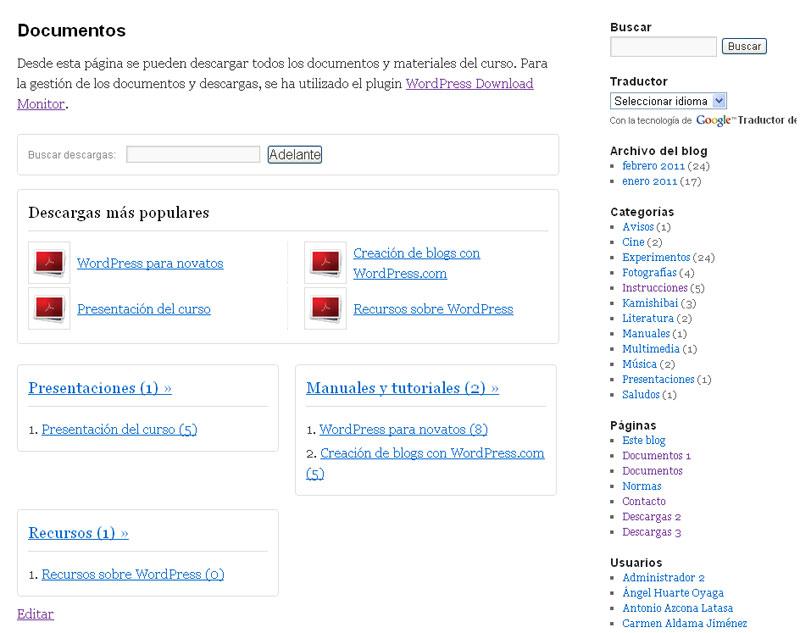 Figura 5 – Página de descargas generada por el plugin WordPress Dowload Monitor