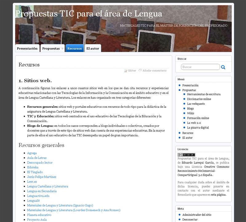 Propuestas TIC para el área de Lengua - Página de recursos