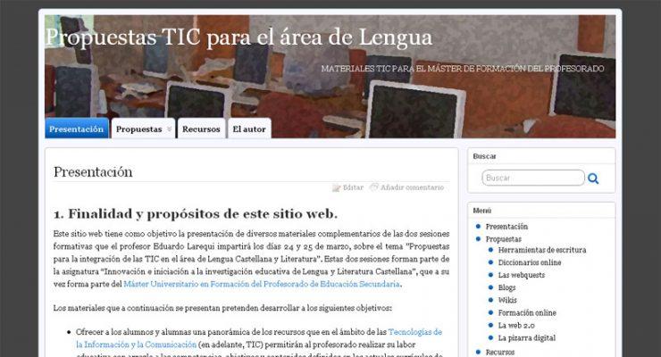 Propuestas TIC para el área de Lengua - Página de presentación