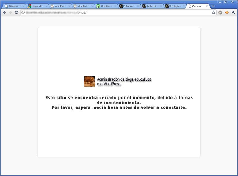 Figura 1 - Frontend del blog en modo de mantenimiento