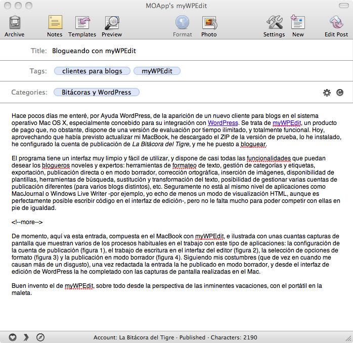 Figura 2 - Interfaz WYSIWYG de escritura