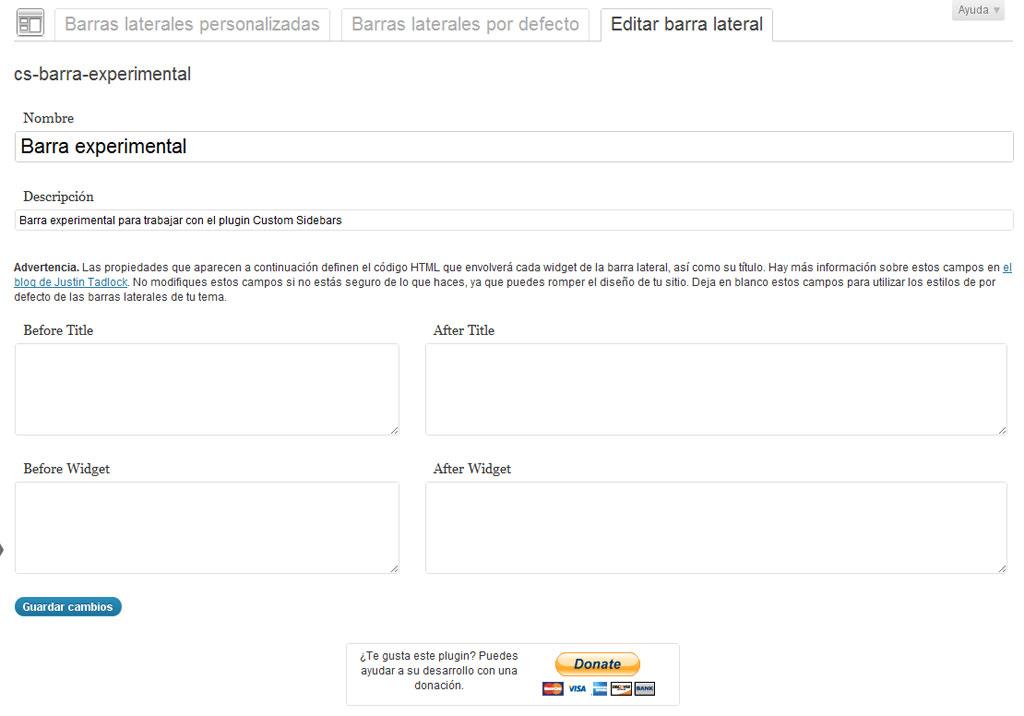 Figura 4 – Edición de una barra personalizada