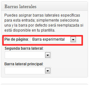 Figura 8 – Selección de barras personalizadas para una entrada o página individual