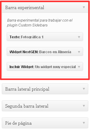 Figura 5 – Widgets en una barra personalizada