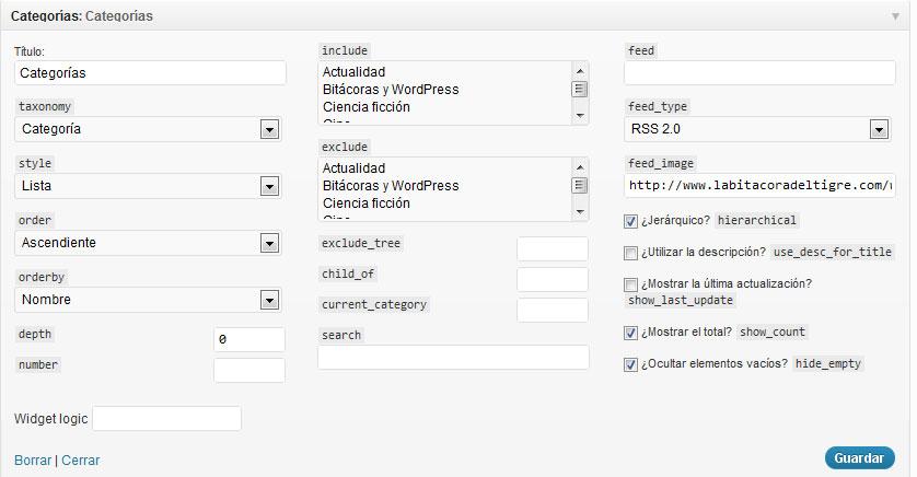 Figura 4 - Widget de categorías mejorado del tema Hybrid