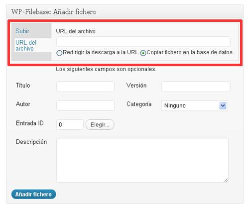 Figura 1 – Selección de URL externa para un fichero