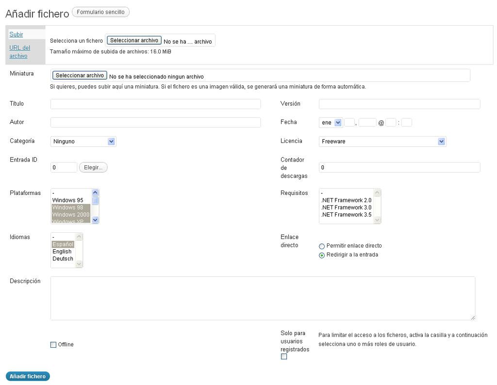 Figura 2 – Formulario avanzado para el etiquetado de ficheros