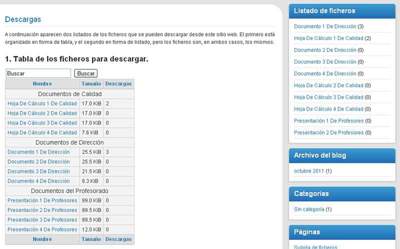 Figura 19 - Plantilla de tabla para listado de ficheros de descarga