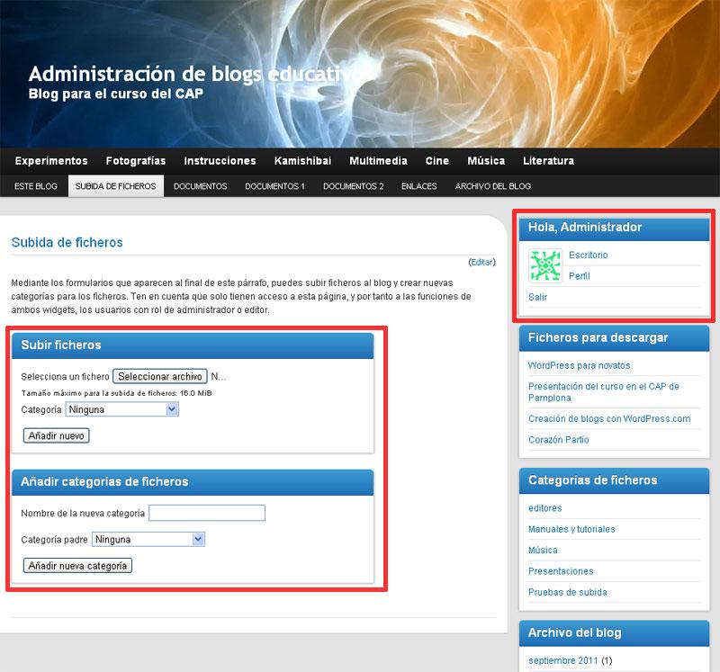 Figura 3 - La página de subida de ficheros, para el usuario administrador