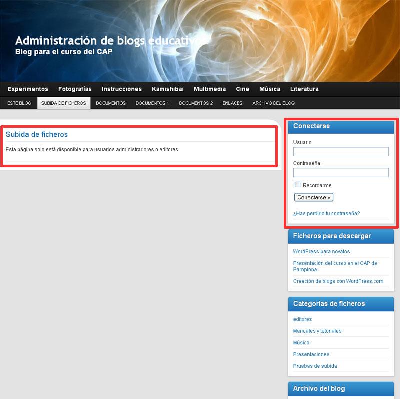 Figura 5 - Página de subida de ficheros, para un visitante del sitio
