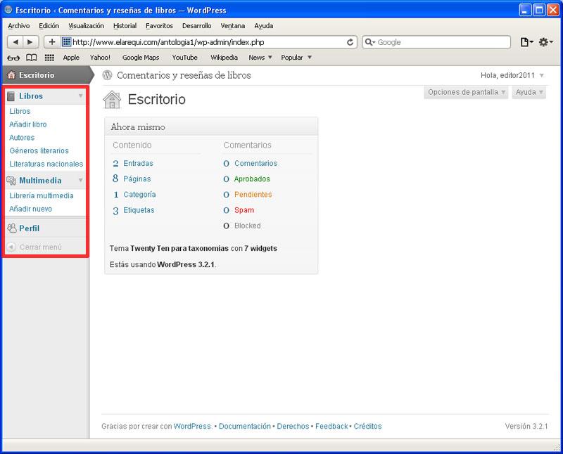 Figura 1 - Menú general del sitio para un usuario editor