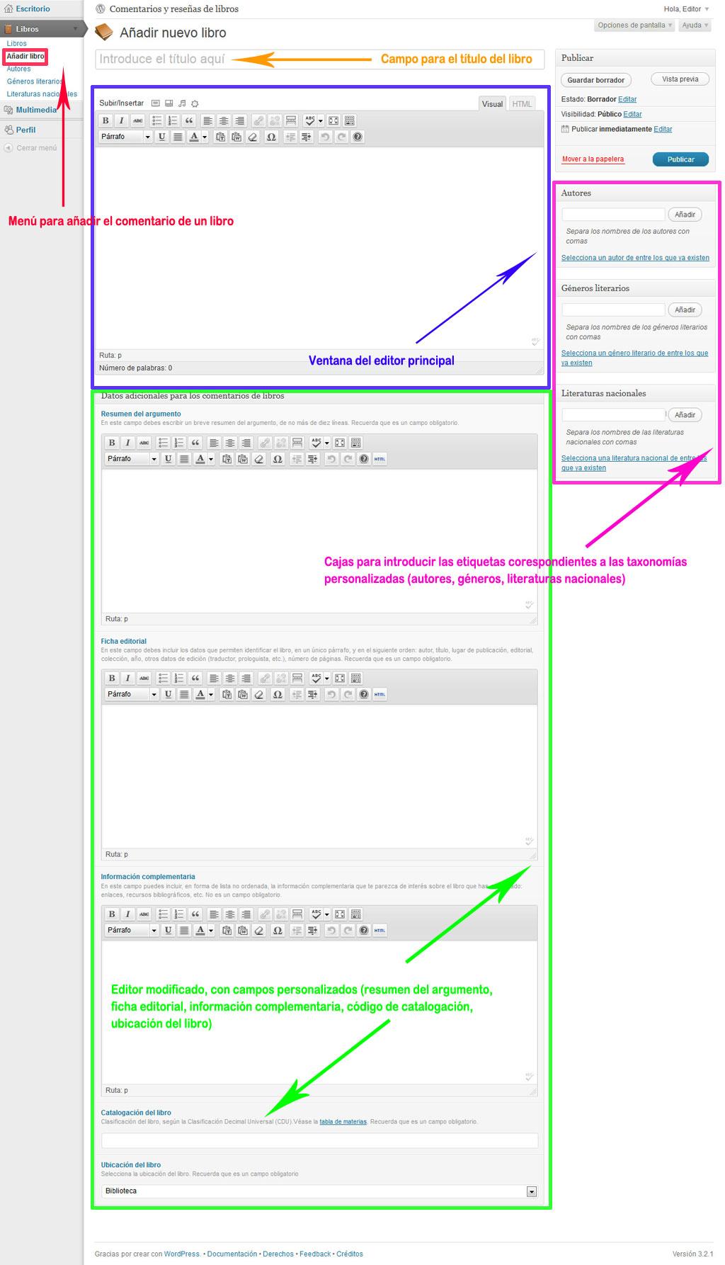 """Figura 2 - Interfaz de edición del tipo de contenido """"Libros"""""""