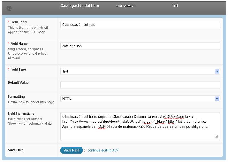 Figura 6- Edición de un campo personalizado de tipo Texto