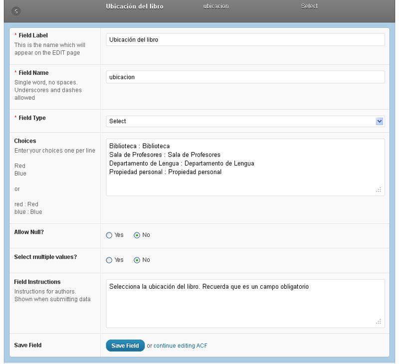 Figura 7 - Edición de un campo personalizado de tipo Select