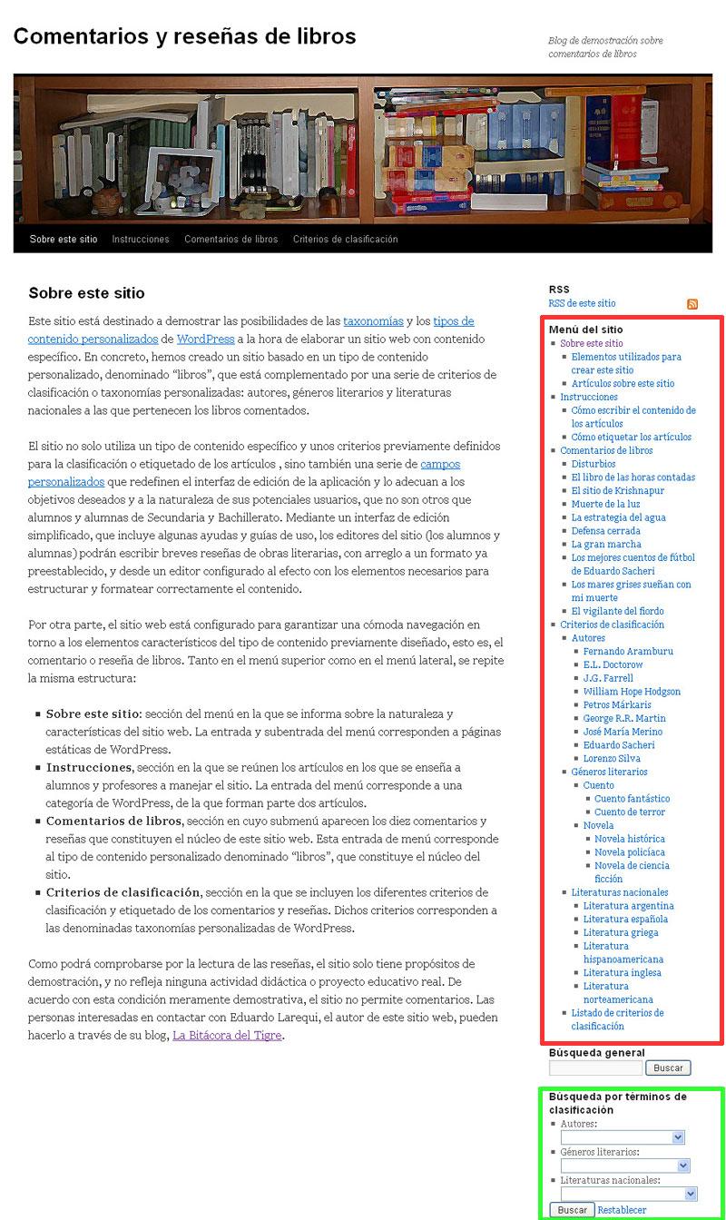 Figura 5 - Widgets de menú personalizado y de búsqueda por criterios de clasificación