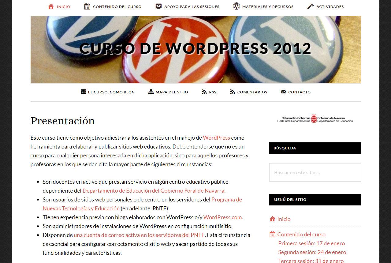Portada del Curso de WordPress 2012