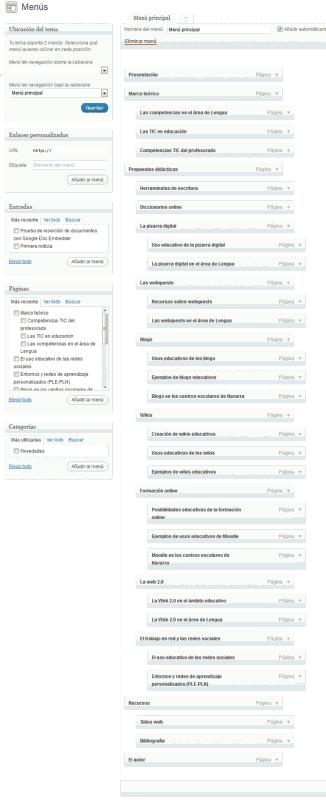 Figura 1- Elaboración del menú de navegación del sitio Propuestas TIC para el área de Lengua