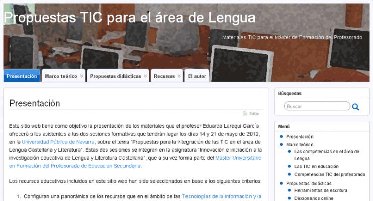 Propuestas TIC para el área de Lengua: la elaboración del sitio