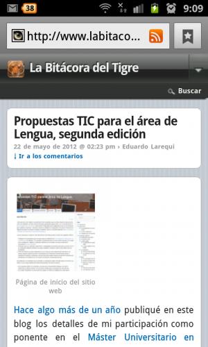 Vista de una página individual con WPtouch