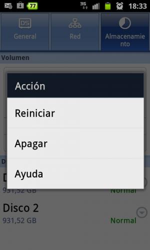Figura 3. Funciones de gestión del NAS con DS finder (Android)