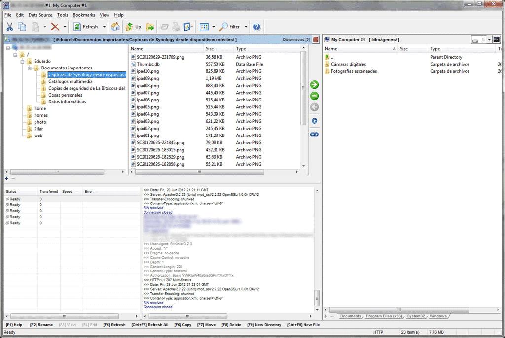 Figura 6. Conexión al servidor NAS con Bitkinex en Windows 7