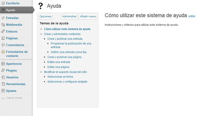 Figura 1. Sistema de ayuda creado en el sitio A con el plugin WP Help