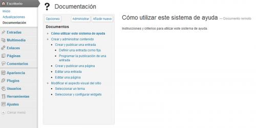 Figura 2. Sistema de ayuda importado desde el sitio B con el plugin WP Help