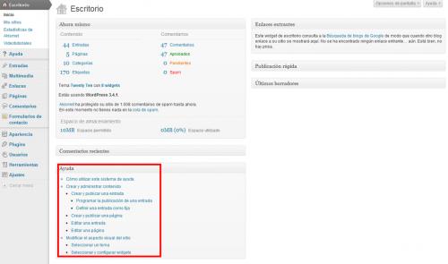 Figura 4. El widget del plugin WP Help en el escritorio de WordPress