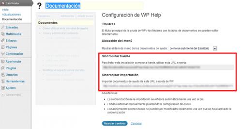 Figura 5. Sincronización de la fuente de documentación con el plugin WP Help