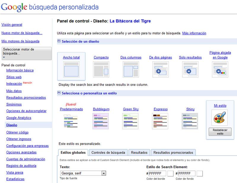 Opciones de diseño del buscador personalizado de Google