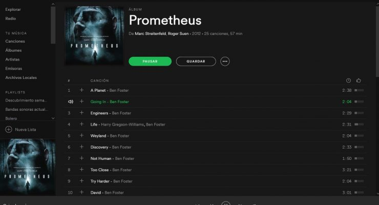 Banda sonora de Prometheus en Spotify