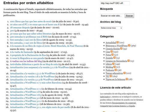 Figura 1. Lista de entradas por orden alfabético